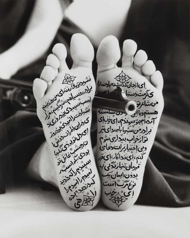 Allegiance with Wakefulness, Shirin Neshat, 1994. Gelatin silver print with calligraphy. Gift of Polly and Mark Addison, 2009.375 © Shirin Neshat