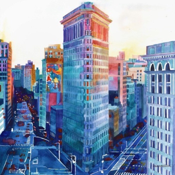flatiron building new york city art, Maja Wrońska, watercolour art, watercolor painting, watercolor ideas, cityscape painting, curators of quirk, curated art