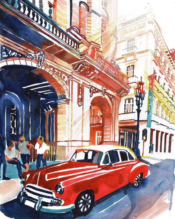 havana art, Maja Wrońska, watercolour art, watercolor painting, watercolor ideas, cityscape painting, curators of quirk, curated art