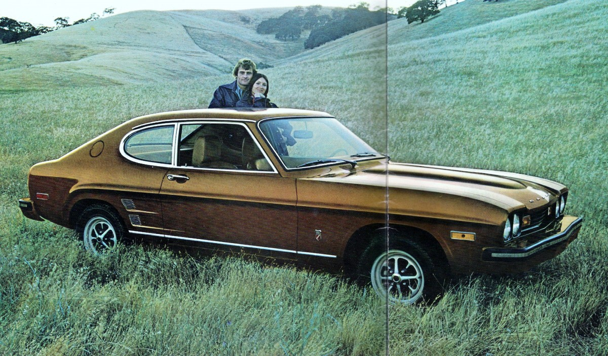 By 74 the capri came in two varieties the four cylinder 2000 and v6 2800 in addition v6s added blackout trim below the chrome side trim and on the rear