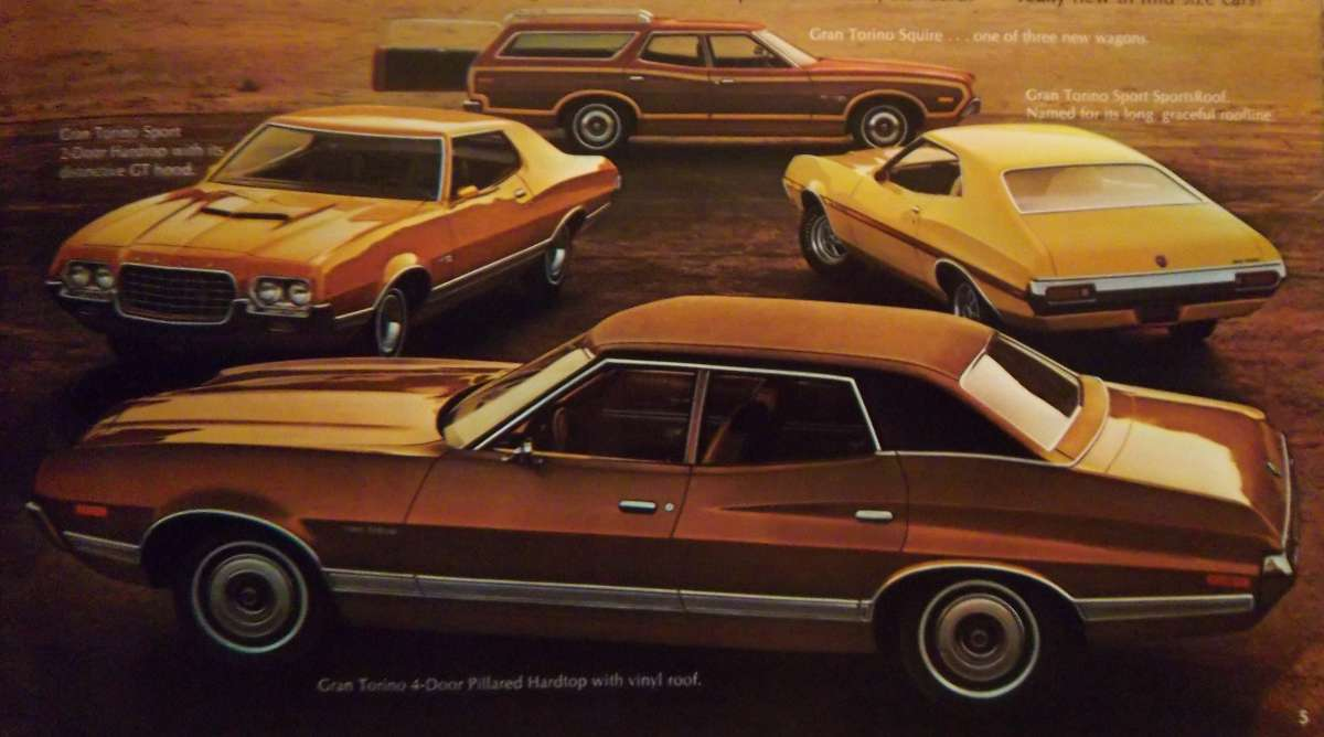 The new gran torino was the highline trim level for 1972 a brougham interior option was optional but did not comprise a stand alone model offered for
