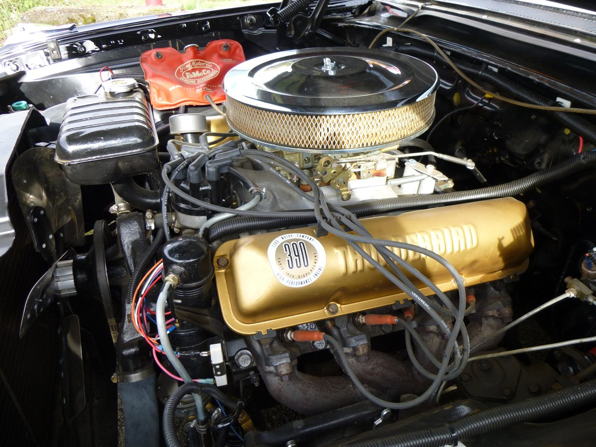 the only engine with which the four speed could be had was the thunderbird super v8 a limited production version of the brand new 390 cubic inch fe v8