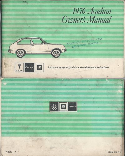 1976 Pontaic Acadian Owners manual covers