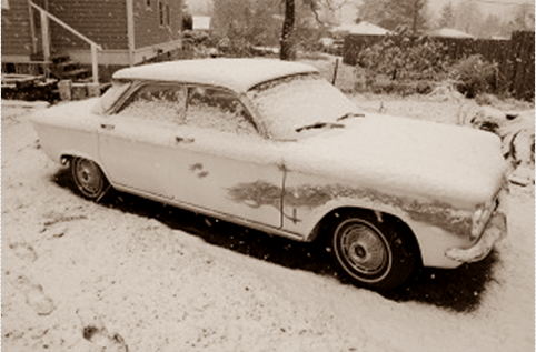 Corvair in snow