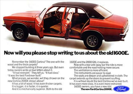 Ford Cortina 2000E advert
