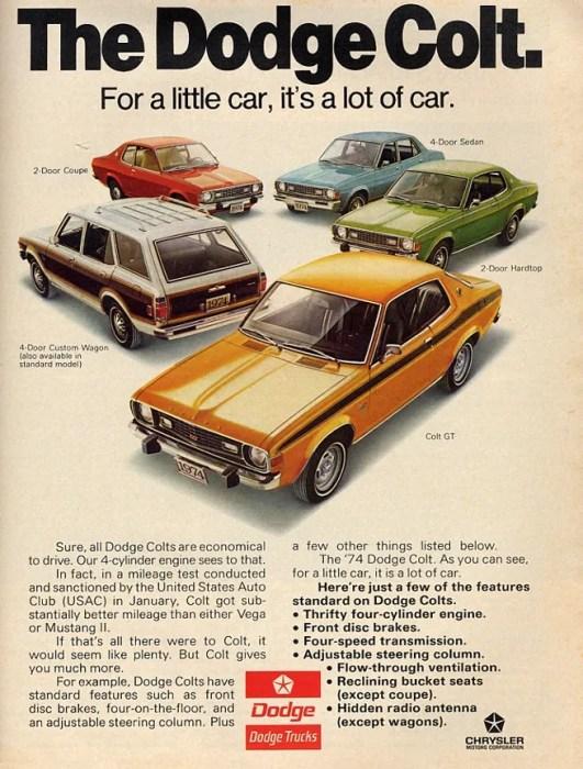 Dodge colt 1974 ad