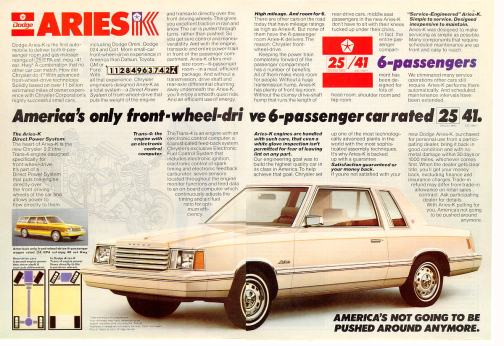 Dodge Aries 1981 ad