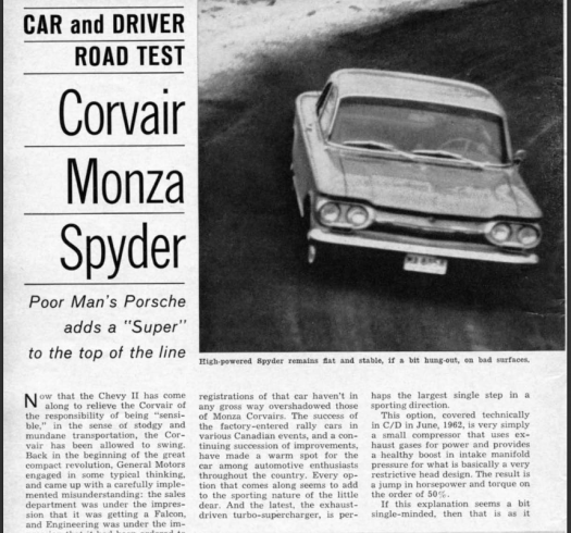 Corvair 1963 Spyder C&D test