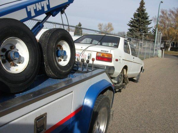 1981 Datsun 210 towing