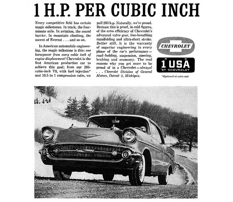 Automotive History 1957 Chevrolet Fuel Injected 283 V8