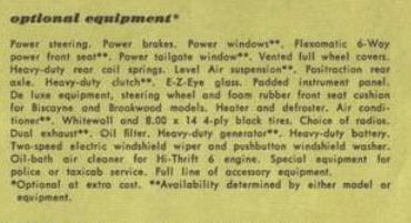Chevrolet 1959 optional