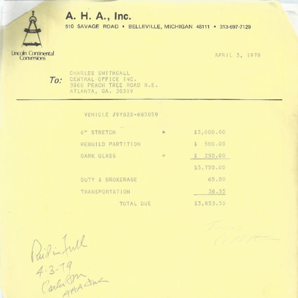 Lincoln 1979 stretch receipt