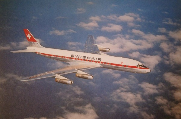 DC 8 swiss air in air