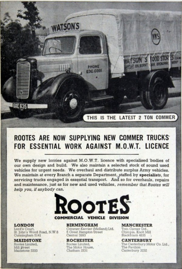 1944 Commer truck ad
