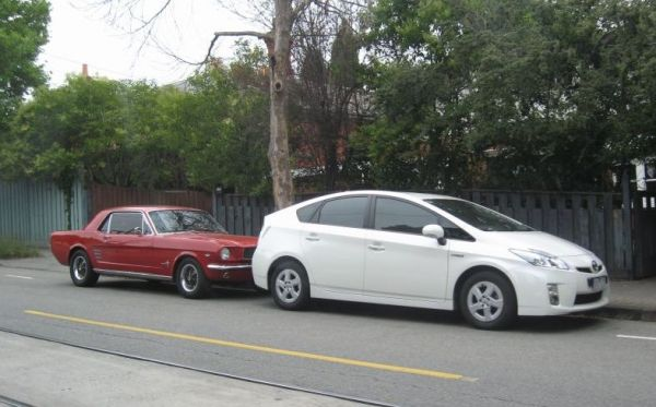Mustang and Prius