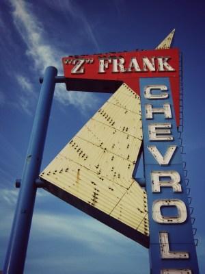 Z Frank Chevrolet Sign CC vintage