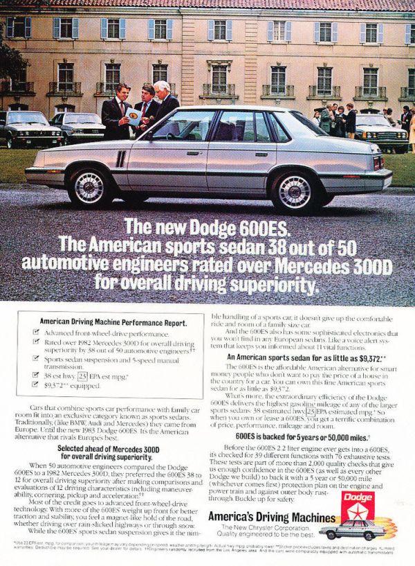 dodge 600 es advertisement
