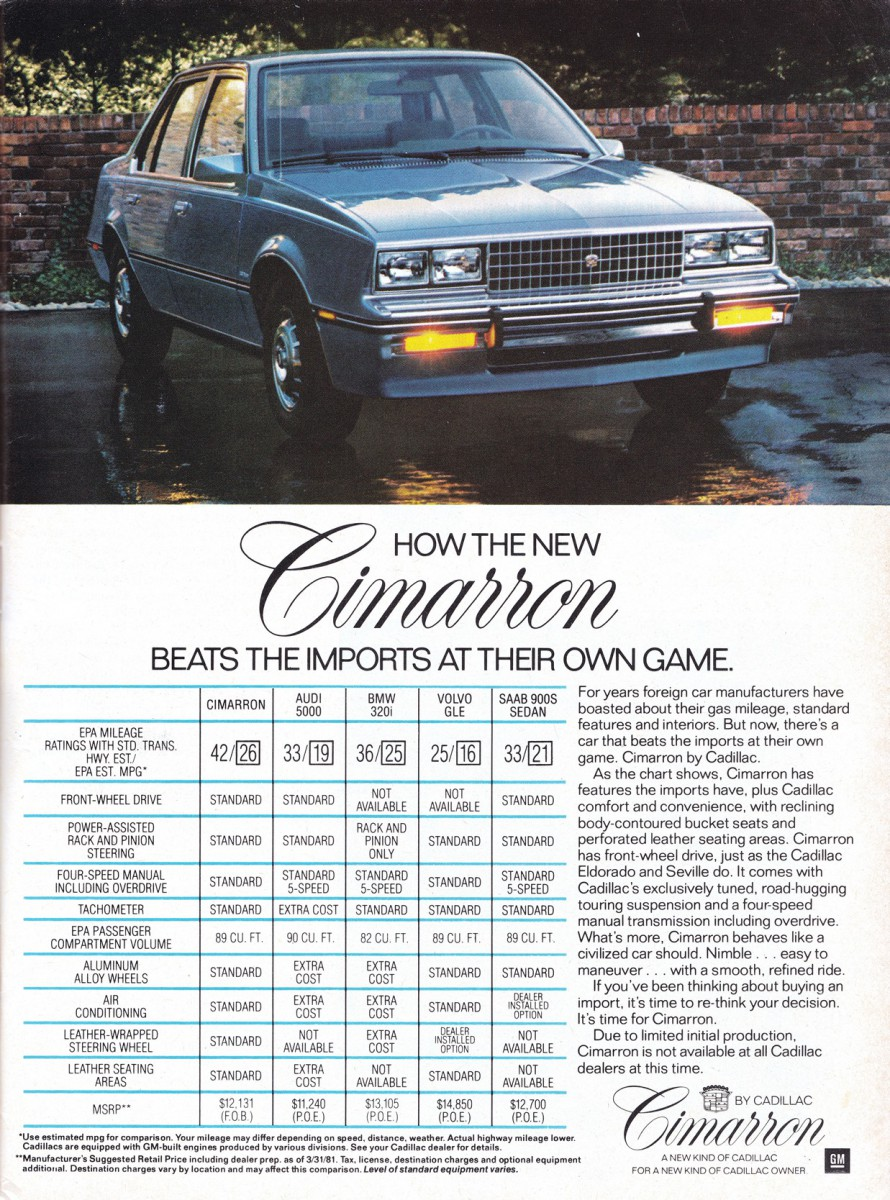Ad 1981 7 curbside classic 1984 cadillac cimarron poor execution meets  at webbmarketing.co