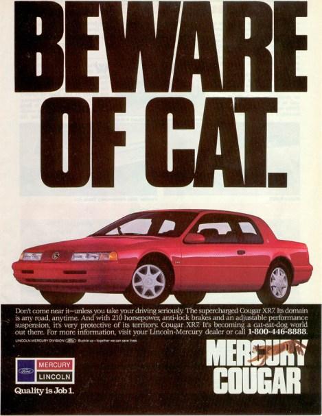 1990 mercury cougar ad
