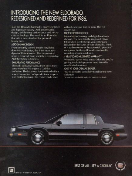 1986 cadillac eldorado ad