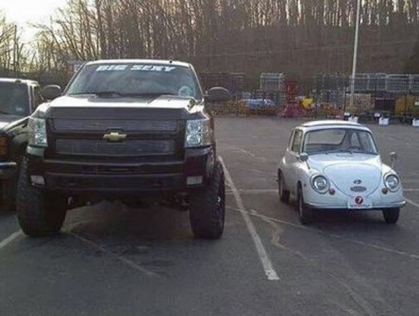 4 - Subaru 360 side by side with truck