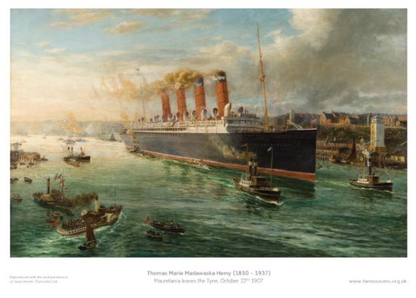 150 Mauretania-Leaves-The-Tyne-1907-Museum-Poster-Tyneside-Prints
