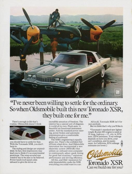 1977 oldsmobile toronado xsr print ad