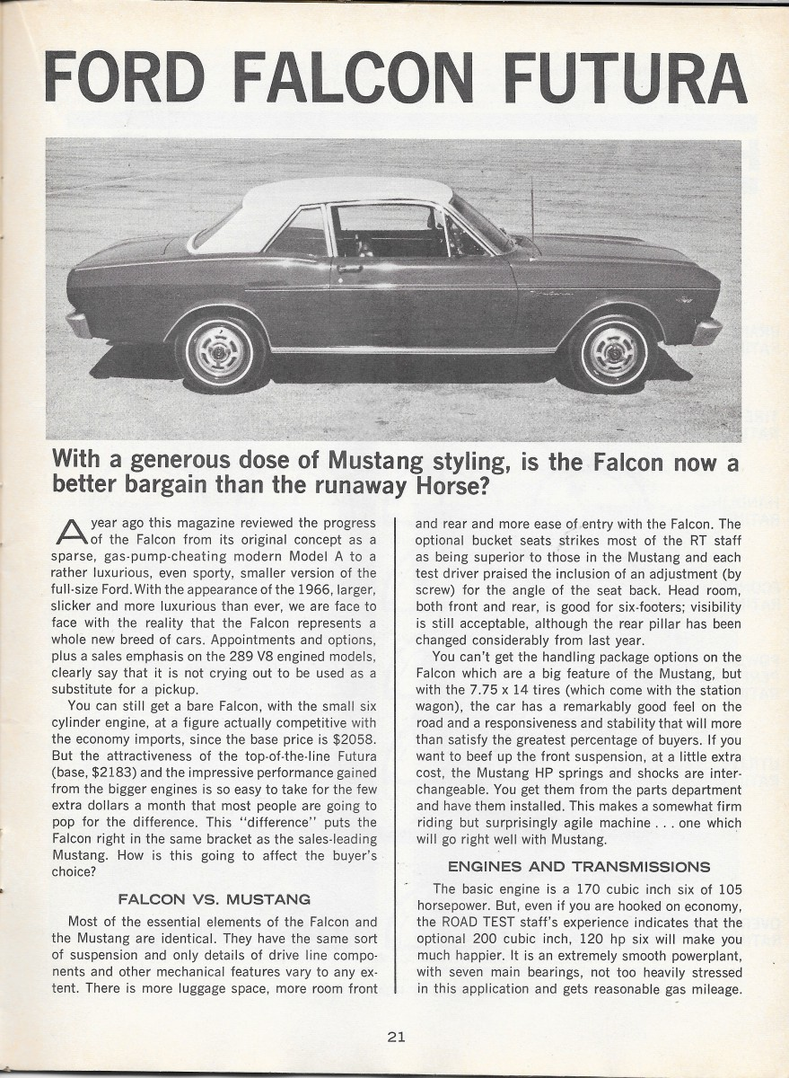 Vintage Road Test: 1966 Ford Falcon Futura – Road Test