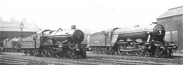 1925_locomotive_exchange,_Pendennis_Castle_and_Flying_Fox_(CJ_Allen,_Steel_Highway,_1928)