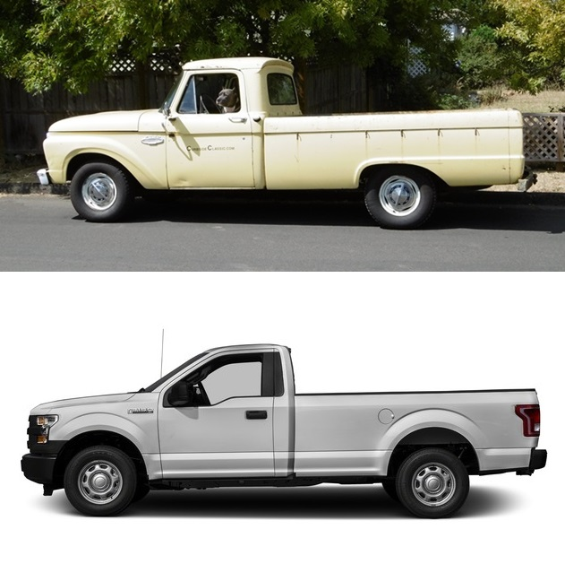 curbside comparison 1966 ford f 100 and 2016 f 150 \u2013 just how muchcurbside comparison 1966 ford f 100 and 2016 f 150 \u2013 just how much has changed in 50 years?