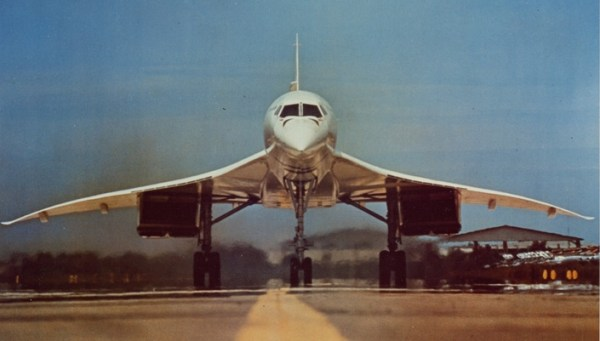 BAC Concorde head on view during take-off