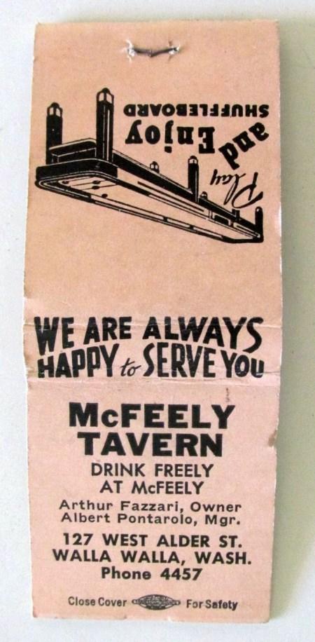 McFeely Tavern matchbook