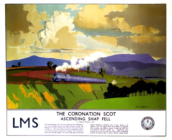 "LMS Poster: ""The Coronaton Scot: Ascending Shap Fell"" , by Norman Wilkinson"