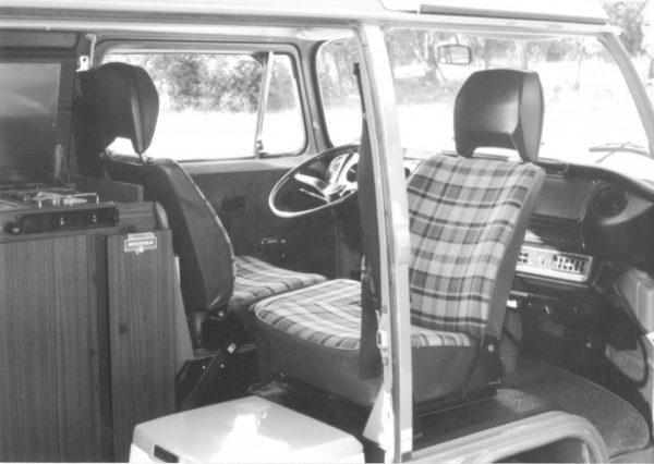 Really, a black and white beauty pic in 1993? Cheesy. Note the AC vents under the dash and the porta-potty below the passenger seat.