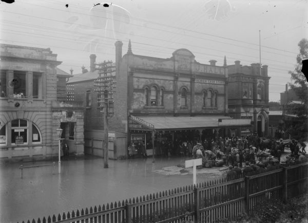 Streetscape showing Seymour floods 1916