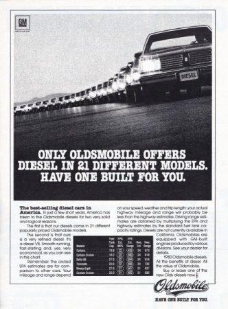 Ad 1980 Oldsmobile Diesels