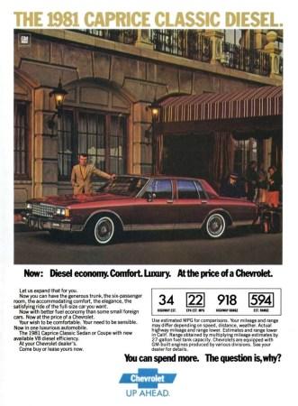 Ad 1981 Chevrolet Caprice Diesel
