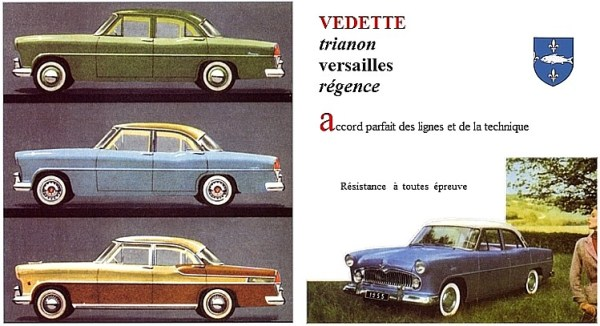 The new Ford Vedette came in three levels of trim – but all had the same V8.