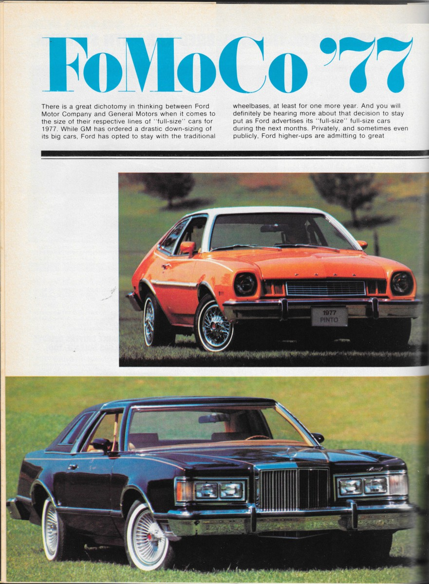 Vintage reviews motor trend s 1977 new car issue ford for Ford motor company news