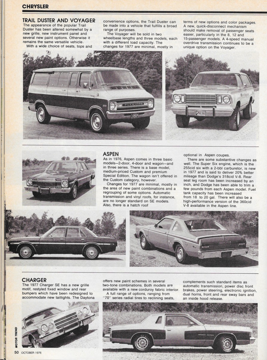 Vintage Reviews: Motor Trend's 1977 New Car Issue – Chrysler