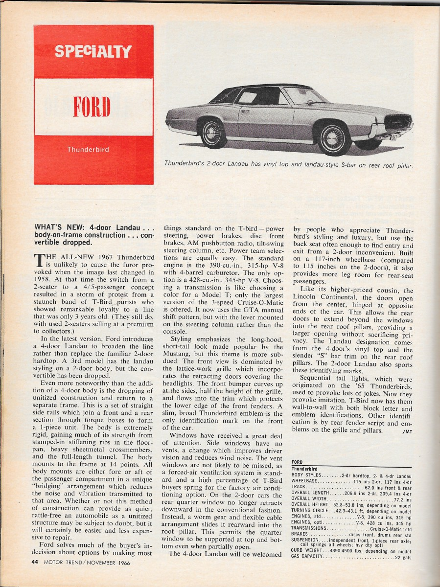 Ford thunderbird 1967 picture 2 of 2 front angle image - Mt1166specialtycarsp6