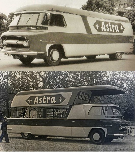 "Closed / open ""Astra"" (margarine) truck on a Delahaye 163L chassis, coachwork by Le Bastard (!) in 1954."