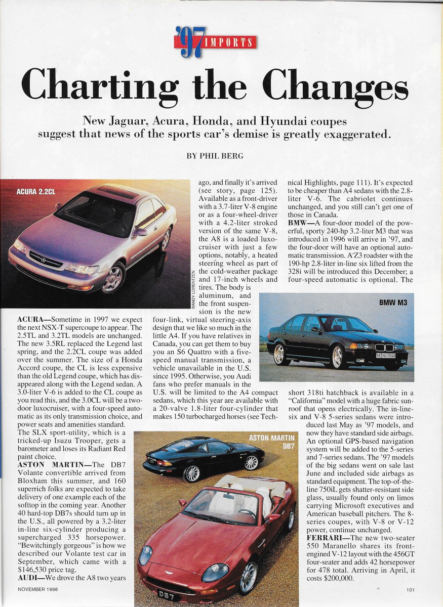 vintage reviews: car and driver's 1997 new car issue – imports