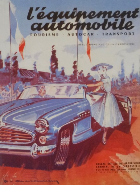 Magazine cover art by Charbonneaux depicting the Delahaye 235, July 1951.