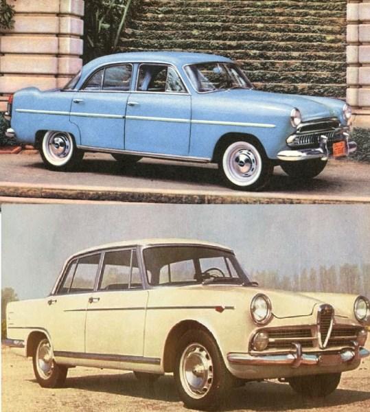 Simca's Brasilian competiton in 1960: Willys Aero (top) and FNM 2000 JK (bottom).