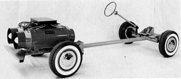 "1958 Arbel Symétric chassis with mock ""Genestatom"" nuclear-powered generator."