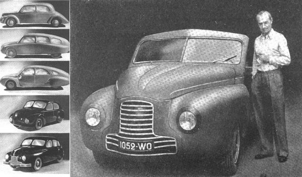 Various R designs went to the wind tunnel over the years; full-scale mock-up ended up with a Cx of 0.35.