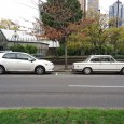 I came across this pair just outside Melbourne's CBD and thought it provided an interesting contrast for the CCognoscenti. Then I noticed the two cars parked in front of the BMW…