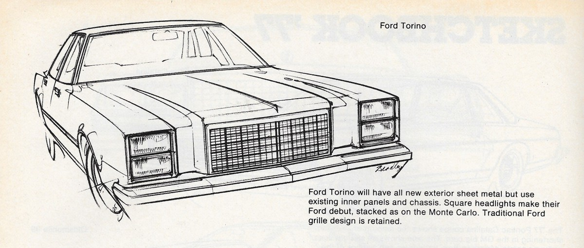 Vintage Article: 1977 Domestic New Car Preview Sketches – Sometimes ...