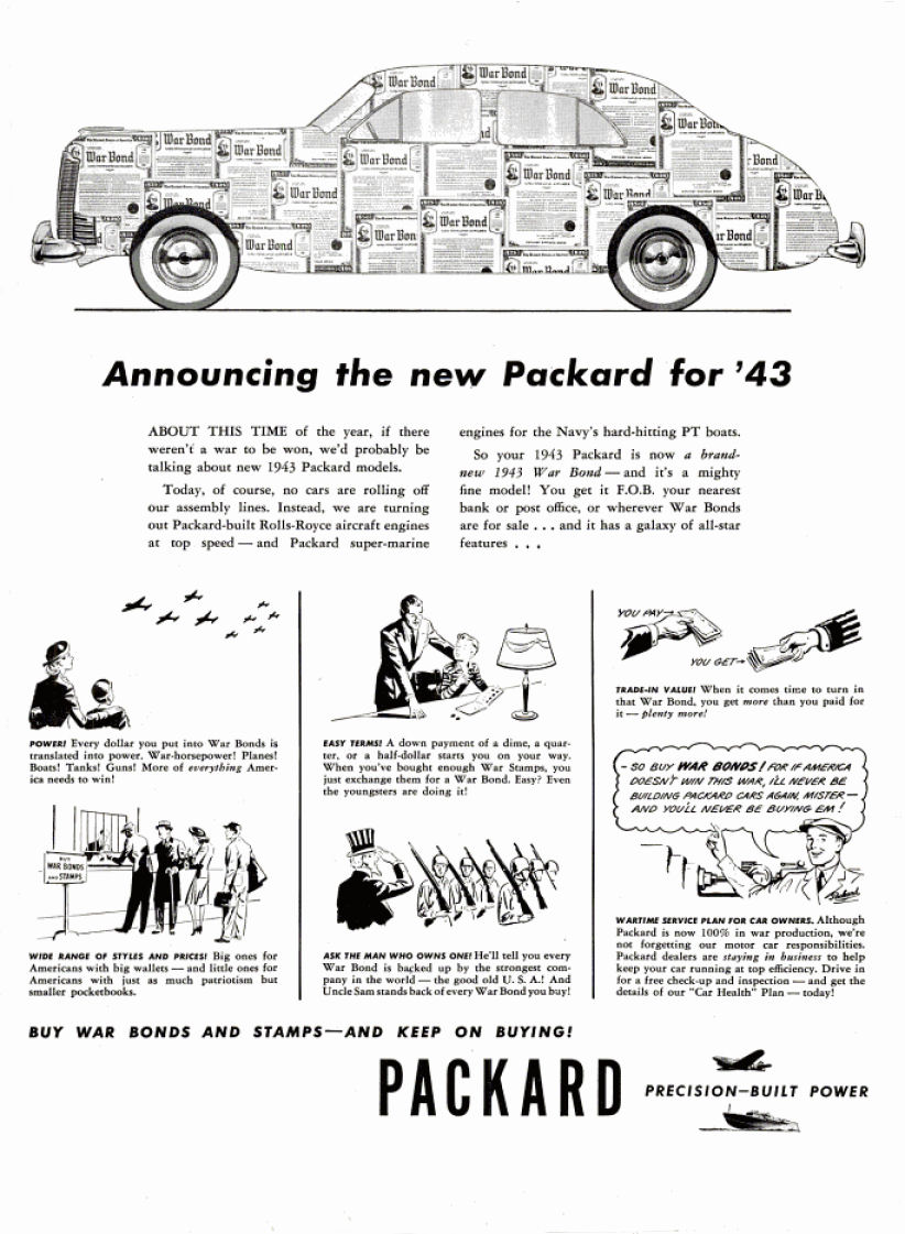 automotive history world war ii auto advertisements 1943 Packard Motor as the war dragged on to 1943 packard playfully released the ad above touting their new 1943 packard